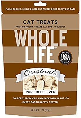 Whole Life Pet Single Ingredient Usa Freeze Dried Beef Liver Treats For Cats, 1-Ounce