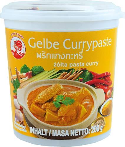 Cock Pasta de Curry Amarillo Cock, Medianamente Picante, Cocina Auténtica Tailandesa, Ingredientes Naturales, Vegano, Halal y sin Gluten 200 g