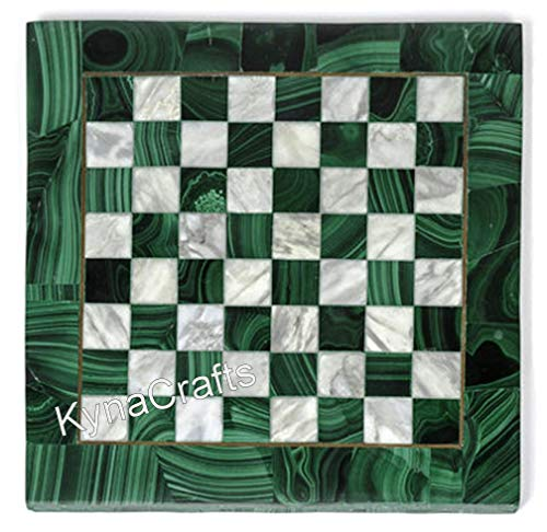 13 x 13 Inches Malachite Stone Inlaid Coffee Table Top Check Pattern Patio Table for Home and Office Decor
