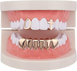 OMYFUN Factory Bottom Price Gold Color Teeth Grillz Set Mixed Design Fake Tooth Grillz Hip-hop Cool Men Body Jewelry US Rap Mouth Caps