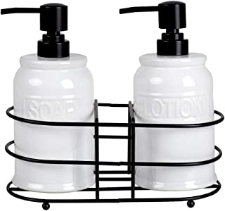 Home Basics 3 Piece Embossed Glazed Ceramic Dispenser with Dual Compartment Metal Rack for Liquid Soap, Lotion, Shampoo, Essential Oils, White