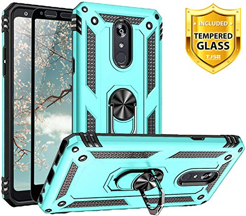 TJS Phone Case for LG Stylo 5/Stylo 5 Plus/Stylo 5V/Stylo 5X, with [Full Coverage Tempered Glass Screen Protector][Impact Resistant][Defender][Metal Ring][Magnetic Support] Heavy Duty Armor (Teal)