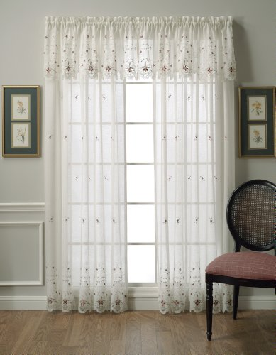 Today's Curtain Aujourd 'Hui Rideau Sunshine Semi Sheer Envers Broderie Panneau, Polyester, Ecru/Burgundy, 60 by 84