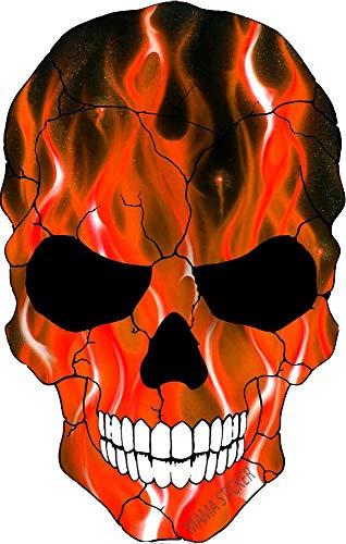 MAMA STICKER Bumper Dead Bone Skelett Teufel Geist Zombie Monster American Flame Red Fire Aufkleber Schild Sicherheit Gepäck Notebook Chopper Motorrad Helm LKW Van SUV Fenster Scrapbook Wasserflasche