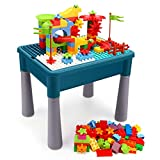 INKPOT Kids 5-in-1 Multi Activity Table Set, Learning Play Table with Storage Includes 85 Pieces Large Building Blocks Set for Toddlers Age 1 2 3 Educational Toy Bricks Kids