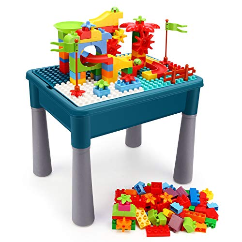 INKPOT Kids 5in1 Multi Activity Table Set Learning Play Table with Storage Includes 85 Pieces Large Building Blocks Set for Toddlers Age 1 2 3 Educational Toy Bricks Kids