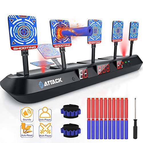 HOPOCO Elektronischen Digitalen Zielscheibe für Nerf, 5 Ziele & 3 Spielmodi Automatisch Zurückgesetzt Ziel für Nerf Gun/Rival/Mega/N-Strike/Elite - Spielzeug Geschenke für Kinder