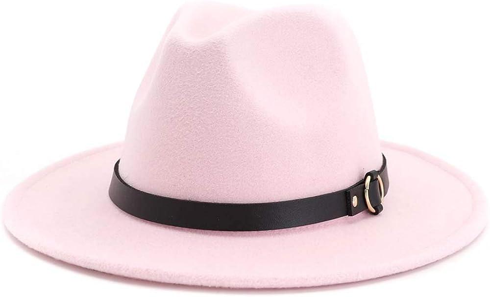 TANGADYL Women Wide Brim Wool Fedoras Hat with Black Belt Church Party Wedding