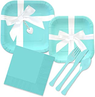 Iconic Blue Box Inspired Party Supplies Kit for 24 Guests - Paper Plates, Napkins, Forks, Spoons Knives