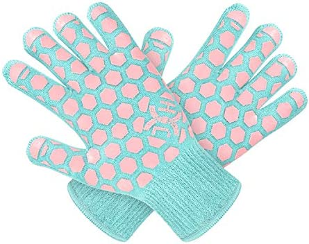 JH Heat Resistant Cooking Glove EN407 Certified 932 F 2 Layers Silicone Coating Turquoise Shell product image
