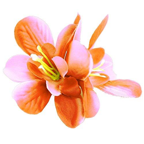 tumundo Haarspange Haarschmuck Zopfhalter Haarteil Haarklammer Blüte Blume Haarblume Rosa Pink Lila Schwarz Haar-Accessoires, Farbe:orange