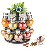 GODSON 360 Degree Revolving Round Shape Transparent Pack of 16 Jar Spice Rack/Container (Black)