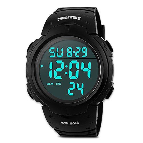 Reloj Deportivo Digital Electrónico de Hombre con Pantalla LED, Sumergible 50 metros, con Calendario, Alarma Luminosa, Cronómetro. Color Negro.