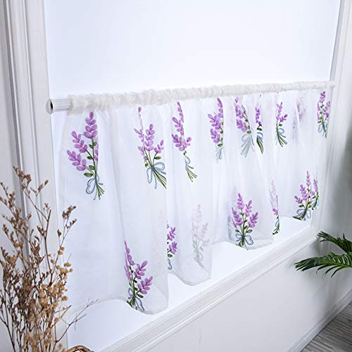 Purple Flower Lace Sheer Rod Pocket Curtain Valance 39x19inch Window Valance for Home Door Partition Kitchen Cafe Dinning Bath Room