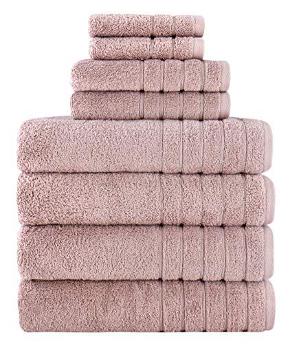 Towels Beyond Luxuriöses Badetuch-Set – weiches Plüsch, übergroße Badhandtücher aus 100 % türkischer Baumwolle (Rose, 8-teiliges Handtuch-Set)