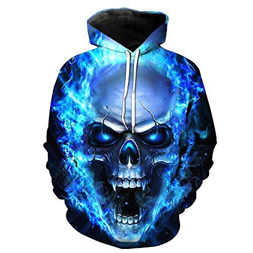 Celucke 3D Druck Hoodie Herren Kapuzenpullover Totenkopf Biker Kapuzenshirt mit Halloween-Totenkopfprint, Halloween Kostüme Langarm Winter Sweatshirt Top Pullover (Blau, XXXXL)