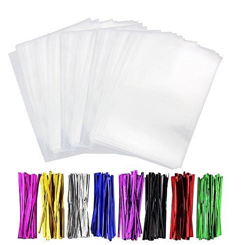 透明OPP袋 300pcs ラッピング袋 リボン付き ギフトバッグ お菓子 透明 食品包装 DIY 包装袋 梱包 冊子 小物 シール 結婚式 プレゼント 11x15cm