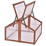 COSTWAY marco frío de madera, caja de marco frío resistente a la intemperie, invernadero de invernadero, cama de planta para balcón de jardín, cama de madera (90x83x59cm)