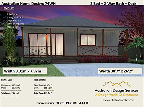 New Cabin House Plans - Floor Plans Green House Plans: Full Architectural Concept Home Plans includes detailed floor plan and elevation plans (2 Bedroom House Plans Book 74) (English Edition)
