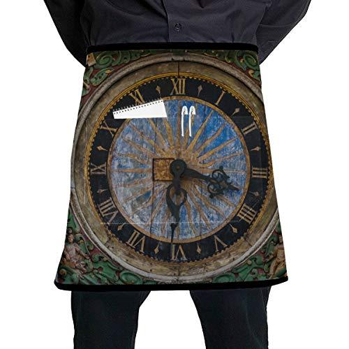 JINCAII Küchenschürzen Unisex alte Uhr in der Altstadt Werkzeug Taillenschürze mit großer Tasche Unisex für die Küche Handwerk Grill Zeichnung