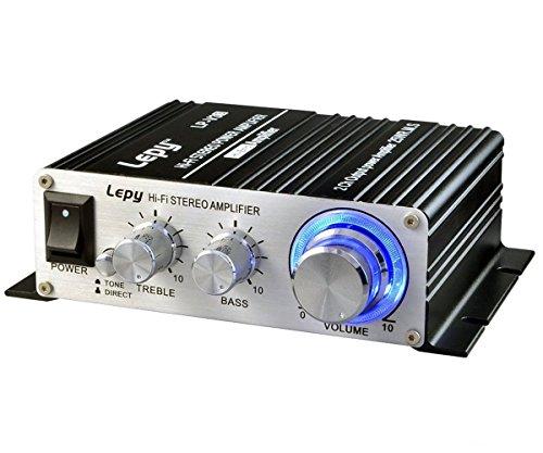 パワーアンプ 25W×2チャンネル 家庭用 カー アンプ 高低音 小型ステレオアンプ ブラック(12Vアダプター付属 ) (パワーアンプ)