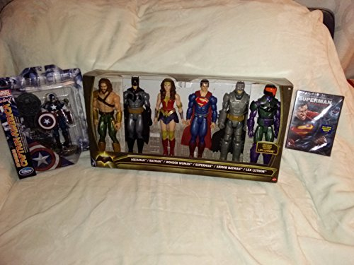 Batman Vs Superman Playset: 6 Figurines, Marvel Captain America Special Edition Action Figure & Original Movie Superman Unbound Cartoon image
