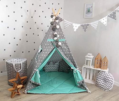 TS Tipi Teepee 4 Zubehör Set Spielzelt Kinder Zelt Indianerzelt Kissen Decke 14 Farben (Grau-Mint Sterne (3))