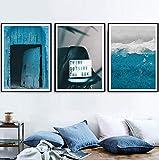 DOOPVM Peinture d'art murale Côte de la lumière électrique Bleue Impression Sur Toile pour Le Bureau à Domicile Décoration Moderne Sans Cadre Set de 3 30x40cm