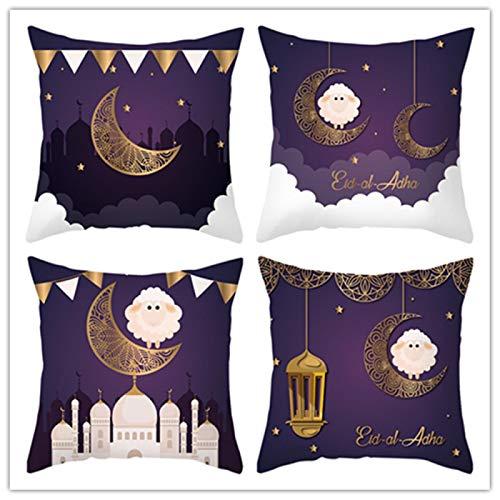weilan1999 Funda De Cojín Púrpura Ramadán Festival Decoración Conjunto De 4 Eid Mubarak Sala De Estar Dormitorio Sofá Funda De Asiento De Coche 18 * 18 Pulgadas