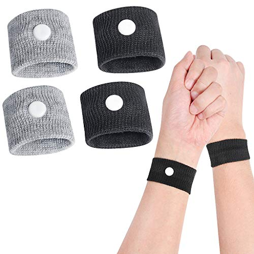 Sickness Bands 2 Pairs Set Travel Motion Sickness Relief Wrist Band Nausea Relief Wristband Anti Nausea Bracelet for Pregnancy Sea Car Flying Travel Sickness and Morning Sickness-Black and Grey
