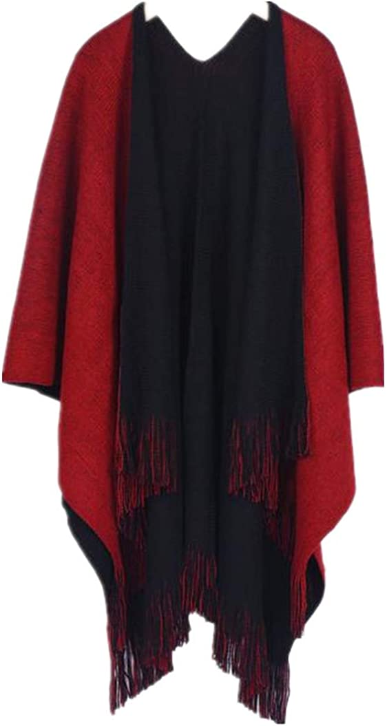 Clearance WUAI Womens Knitted Cardigan Cashmere Capes Shawl Cardigans Sweater Coat