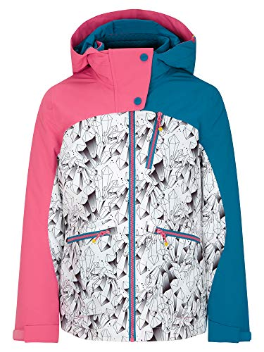 Ziener Mädchen ANTALIA Junior Kinder Skijacke, Winterjacke   Wasserdicht, Winddicht, Warm, Ice Crystal Print, 104