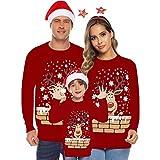 zolimx-steampunk maglione di natale donna uomo bambino maglioni natalizi maglieria per famiglie con collo tondo manica lunga unisex pullover xmas caldo pullover modello fiocco di neve e elk maglione