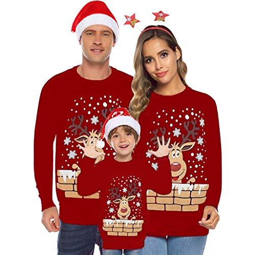 Lulupi Weihnachtspullover Familie Set Pullover Weihnachten Rentier Elch Pulli Kinder Christmas Sweater Strickpullover Weihnachts Sweatshirt