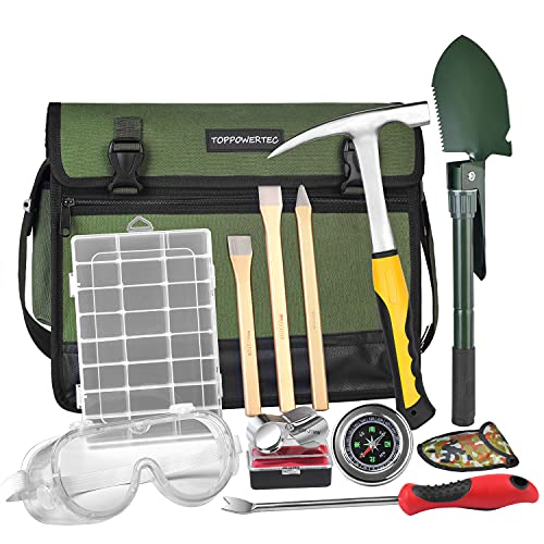 TOPPOWERTEC Rock Hammer Kit for Rock Hounding, Gold Mining,including an all Steel Rock Pick Hammer with Pointed Tip,3-Pieces Heavy Duty Chisel Set,Folding Multifunctional Handle Shovel and more