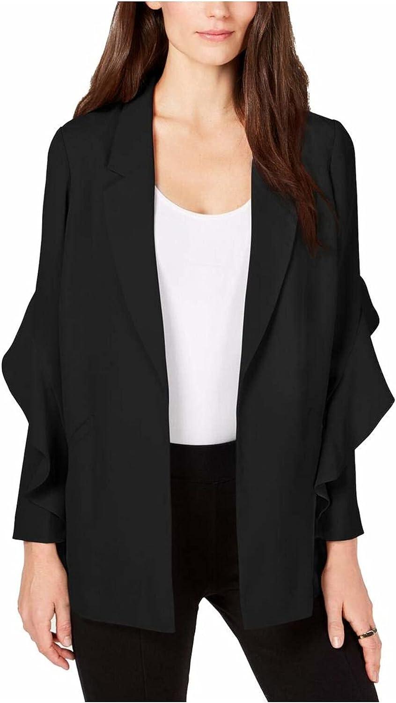 Alfani Womens Flounce Suit Separate Open-Front Blazer
