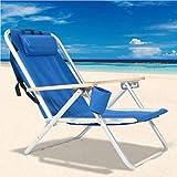 XLBHSH Silla de playa, portátil, de aluminio, con bolsillo más fresco, soporte para botellas y almohada, plegable, reclinable, ligera, duradera, silla de exterior