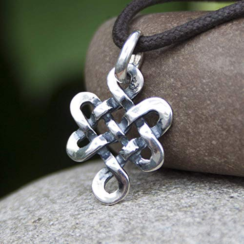 Tibetan Endless Knot Necklace Sterling Silver Infinite Celtic Irish Love Knot Pendant Mystic Buddhist Amulet Wiccan Nepal Jewelry for Men Women Yoga Lover Gift/Handmade