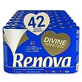 Renova Papel Higiénico Renova Divine Perfection | 42 rollos premium 4 capas ultrasuaves | Más resistencia, grosor, suavidad y absorción | Papel Certificado FSC