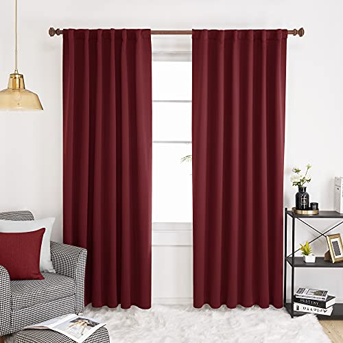 Deconovo Solid Rod Pocket and Back Tab Curtains, Burgundy Red - Thermal Insulated Blackout Curtains for Living Room, 52x84 Inch, Set of 2