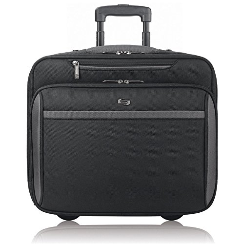 Solo New York Westside Rolling Overnight Laptop Bag. Slim, Compact Design Rolling Overnighter Case for Women and Men. Fits up to 16 inch laptop - Black