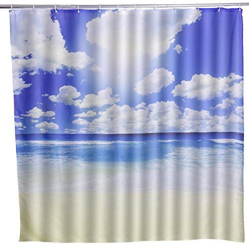 Duschvorhang Badvorhang Badewanne Wannenvorhang Wasserwuerfel Badezimmer 180x180cm Himmel Wolke Meer