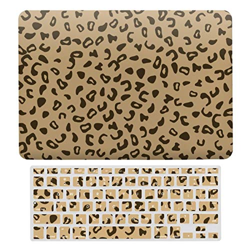 For MacBook Air 13 13 Inch Case A1466、A1369 Hard Shell Cover for MacBook Air 13 Case & Keyboard Cover, Leopard Skin Texture Tan Pattern Design Laptop Protective Shell Set