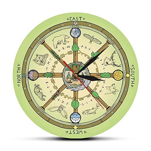 xinxin Reloj de Pared La Rueda del año Reloj de Pared con i