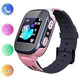 Jslai Smartwatch Kids Étanche avec Tracker LBS/GPS, Téléphone Intelligent Compatible Android Watch iOS pour Les Enfants 3-12 Filles SOS Caméra à Distance Écran d'appel bidirectionnel (Rose)