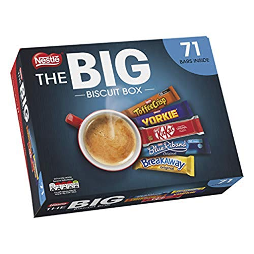 Nestle The Big Biscuit Box. 71 bars with all your childhood faves. Yes, they still make Blue Riband and Breakaway.