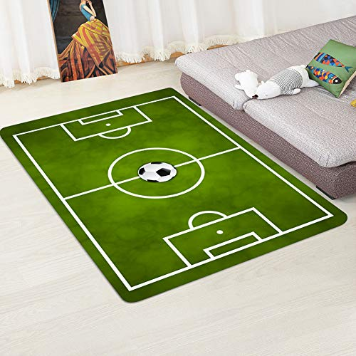 Gigicloud Mini Alfombra de área Antideslizante con diseño de Campo de fútbol para Sala de Estar en casa Campo de Futbol 4 80cmX120cm