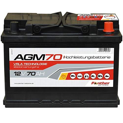 Panther AGM70 Start-Stop Batterie 12V 70Ah AGM Versorgung Auto Solar Bootsbatterie