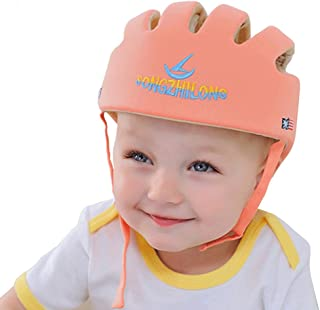 Infant Baby Safety Helmet, IULONEE Toddler Adjustable Protective Cap, Children Safety Headguard Harnesses Protection Hat for Running Walking Crawling with Baby Teething Mitten Glove Gift (Orange)