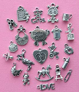 Jewelry Making Deluxe Baby Girl Charm Collection Antique Silver Tone 22 Charms - COL285 Perfect for Pendants, Earrings, Zipper pulls, Bookmarks and Key Chains